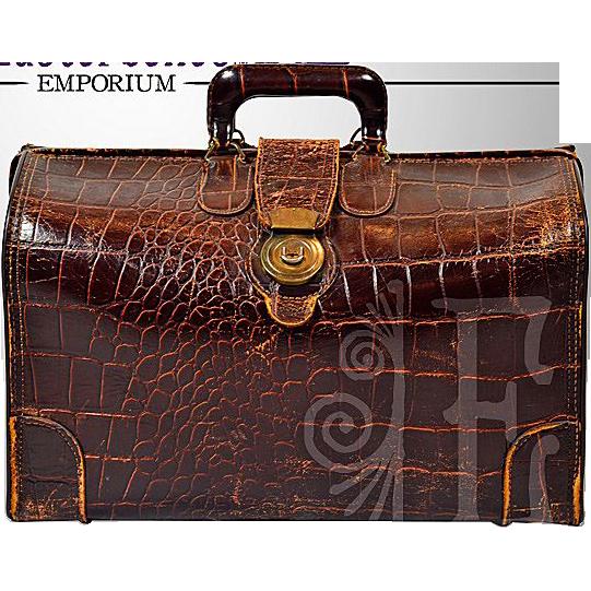 Vintage Alligator Embossed Leather Doctor's Bag / Case