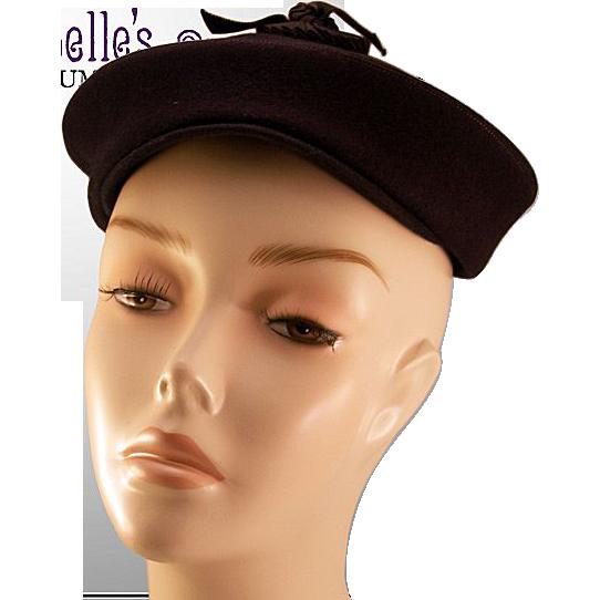 Fabulous I. Magnin Navy Blue Felt Hat with Original Matching Hat Pin