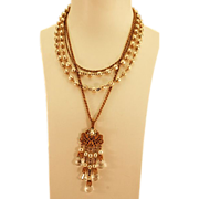 Unique Multi-Strand Miriam Haskell Necklace with Stand Out Pendant