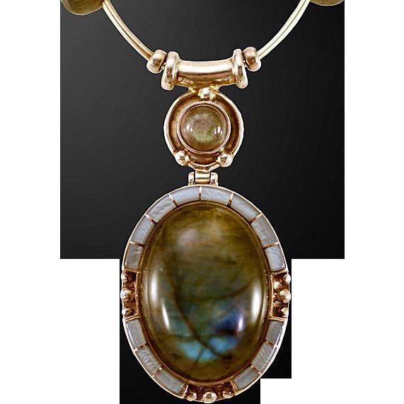 OOAK Davison Luminous Labradorite Necklace with Cabochon Pendant