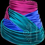 Classic Schiaparelli Silk Pink, Blue and Teal Turban