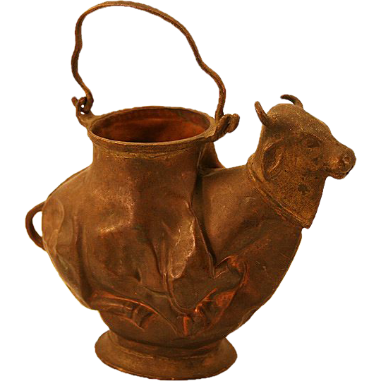 Very Unusual Antique Copper & Brass Bull Shaped Kettle