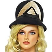 Funky 1960's Beehive Hat in Black and Tan