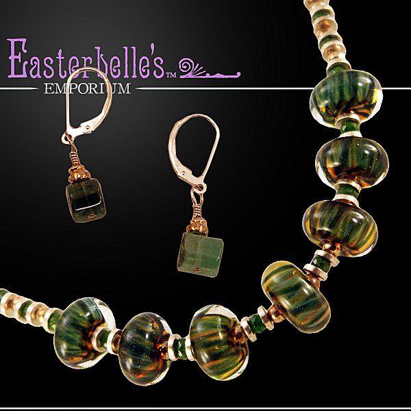 "OOAK Davison AAA Grade ""Chrome"" Tourmaline and Art Glass Necklace/Earring Set"