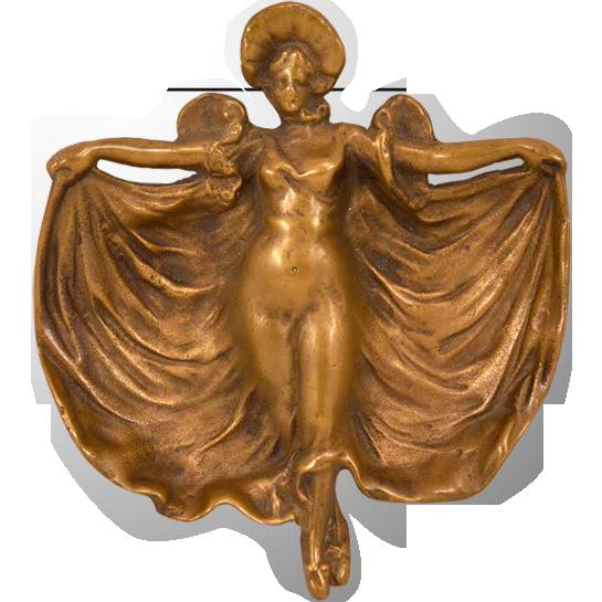 Lovely Nouveau Bronze Flowing Woman Dish