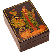Highly-Collectible Vintage Mstera Russian Lacquer Box With Fairy Tale Scene and Artist's Signature