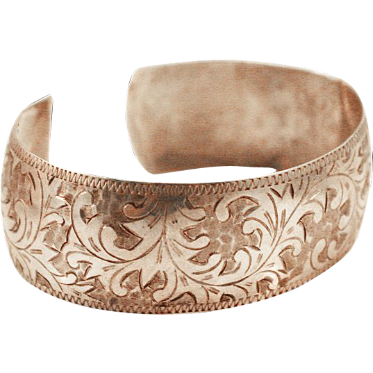 Victorian Sterling Silver .950 Romantic Engraved Cuff with Inscription