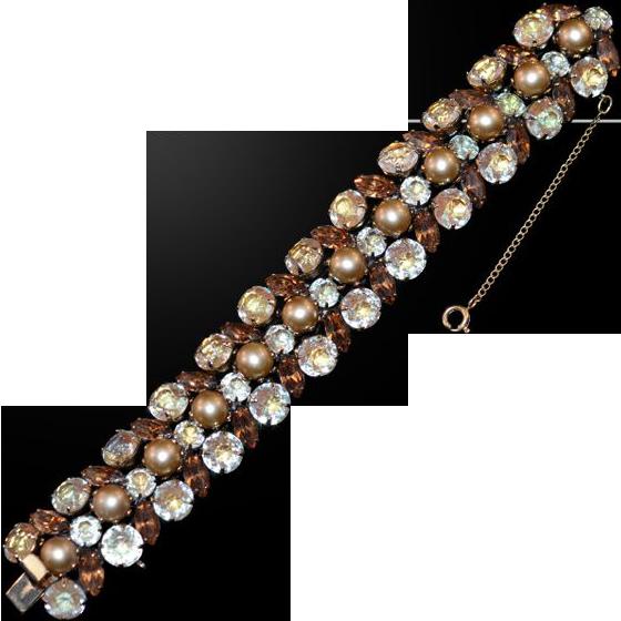 Glam and Gorgeous Kramer Signed Champagne, Amber Rhinestone Faux Pearl Bracelet
