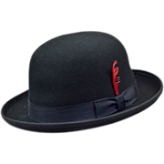 Dashing Black Bowler Hat with Red Feather