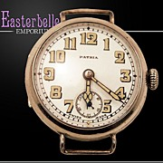 Very Rare WWI Patria Sterling Silver .935 (Euro Silver Mark) Swiss Movement Military Watch