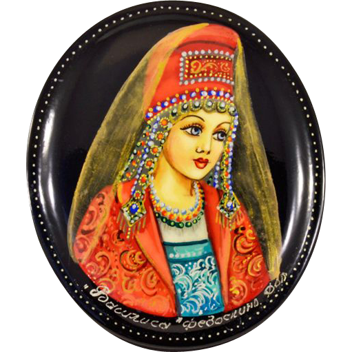 """Highly-Collectible Hand-Painted Russian Fedoskino Lacquer Box With Classic Fairy Tale """"Vasilisa"""""""