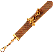 ca 1934 Providence Stock Company 12K GF Antique Mesh Slide Fob Chain Classically Detailed