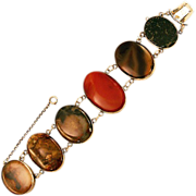 Over the Top Antique Scottish Agate and Sterling Silver Bracelet
