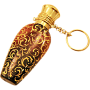 Gorgeous Antique Cranberry Glass Perfume Bottle with Chatelaine Ring