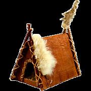 "Vintage Folk Art ""A"" Frame Tee Pee Bark, Wood & Rabbit"
