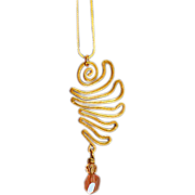 OOAK Davison Brass & Sunstone Wing Pendant on Dainty 14K Gold Chain