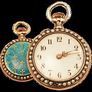 Ladies Antique 14K Rose Gold Over Sterling Pocket Watch Guilloche Enameling and Fleur de Lis Detail