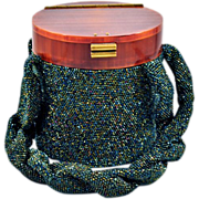 Sexy Vintage Cylinder Beaded Handbag with Green Seed Beads