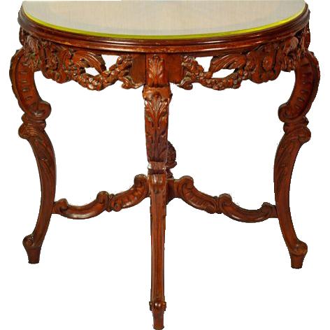 Vintage Demi-Lune Mahogany Console Table