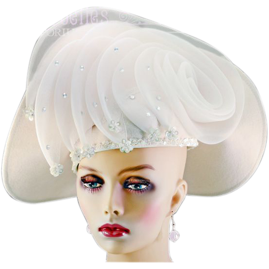 Over The Top Glam Deborah Fashions White Wool & Net Hat
