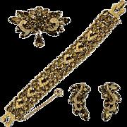 "Glorious Weiss Hard To Find ""Black Diamond"" Rhinestone Earrings, Bracelet, and Brooch Set"