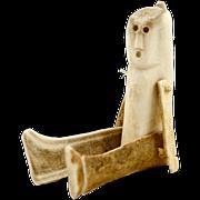 """Antique Primitive Inuit Carved Caribou Antler Human Figure """"Doll"""""""