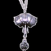 OOAK  Davison Sterling Silver and Marcasite Antique Elephant Pendant Necklace