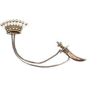 Beautiful Sterling Silver Crown and Scabbard Brooch
