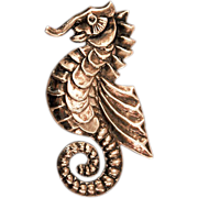 Pre 1948 Big Beautiful Sterling Silver Seahorse Brooch, Mexico