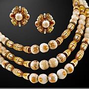 Signed Hobe Elegantly Understated Necklace and Earrings Set