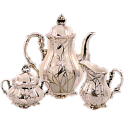 Vintage Hertel Jacob & Co. Bavaria Germany  Sterling Silver on Porcelain Coffee Set