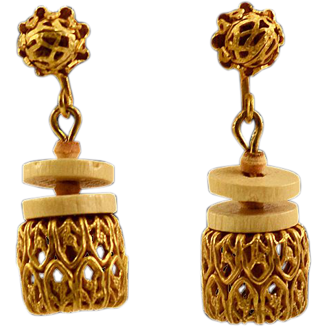 """Miriam Haskell Filigree """"Basket"""" Earrings"""