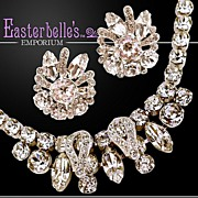 ca 1950's  Eisenberg Marquise Cut Rhinestone Earring & Necklace Demi-Parure Set