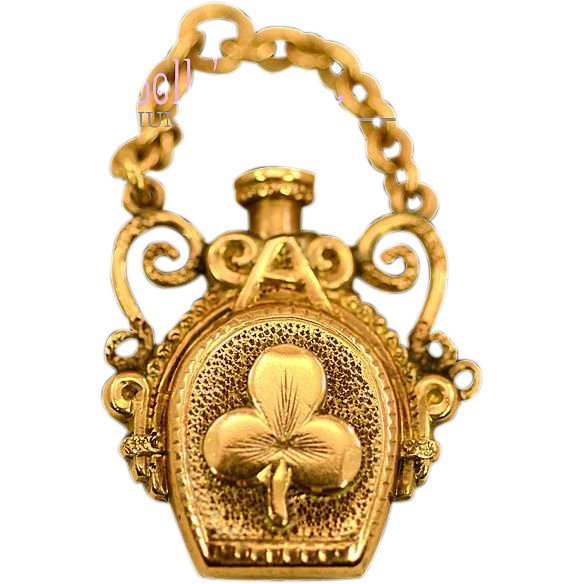 Solid 14k Gold Clover and Heart Chatelaine Perfume Bottle with Chain