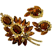 "Sensational Juliana D&E Smoked Topaz and ""Crystal"" Rhinestone Earrings Brooch Set"