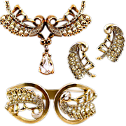 Dazzling Rhinestone Vintage Earrings, Bracelet, and Necklace Set
