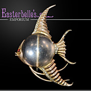 ca 1943 Iconic Trifari Sterling Angelfish Jelly Belly Fur Clip