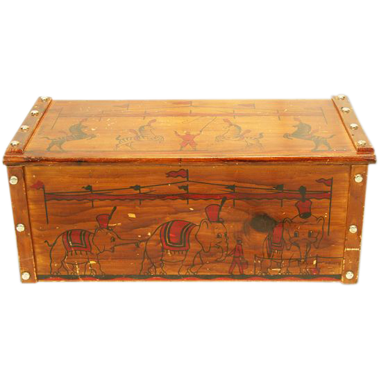 Fun ca 1950s Wooden Toy Box / Chest with Circus Decoration