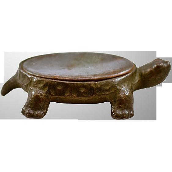 Antique Cast Iron & Steel Turtle Pin Cushion Base