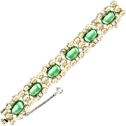 Gorgeous Hattie Carnegie Lucite Cabochon & Rhinestone Bracelet