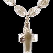 OOAK Artisan Davison Sterling & Faceted Quartz & Swarovski Crystal Cross Necklace