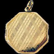 ca 1920's 9 Karat Gold Octagonal Locket Bishton and Fletcher