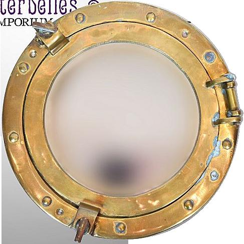 Vintage Ship Porthole Brass Mirror