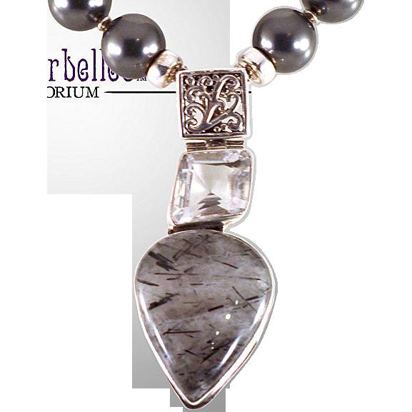 OOAK Davison Necklace with Swarovski Glass Pearls, Quartz, Sterling & Bali Silver Components