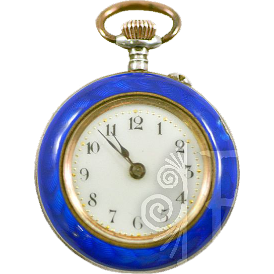 Antique Guilloche Enamel and .800 Silver and Seed Pearls Ladies Pocket Watch