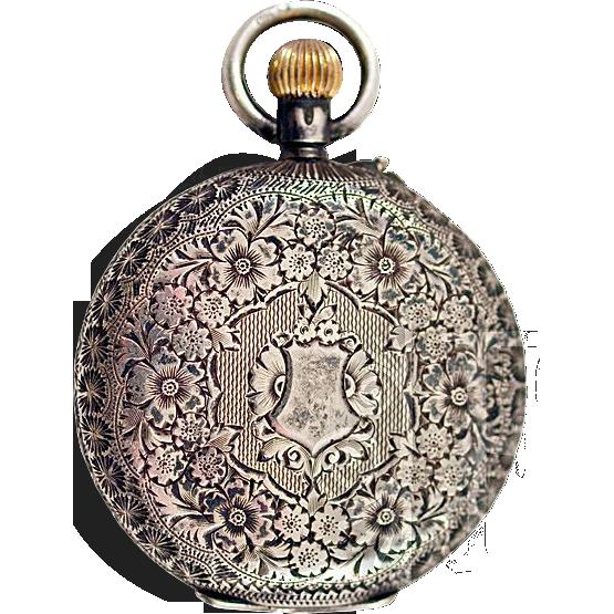 ca 1912 Sterling Silver Porcelain Dial Women's Swiss Pocket Watch Hunter Case