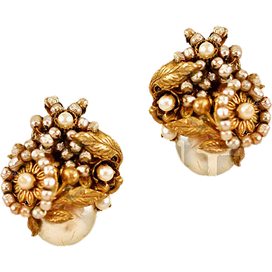 """Vintage Miriam Haskell """"Baroque"""" Style Earrings with Glass Pearls"""