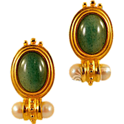Elegant Schiaparelli Earrings with Faux Jade Cabochon Detail Etruscan Revival Design