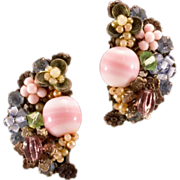 Pretty Pink Miriam Haskell Horseshoe Plaque Cluster Earrings, ca. 1949
