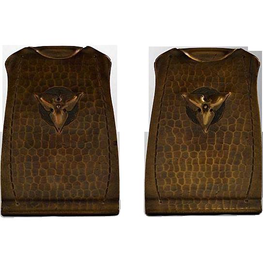 Vintage Roycroft Brass Bookends